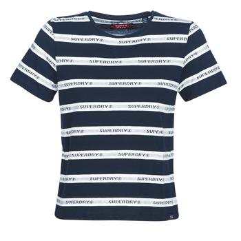tekstylia Damskie T-shirty z krótkim rękawem Superdry COTE STRIPE TEXT TEE Marine