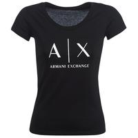 tekstylia Damskie T-shirty z krótkim rękawem Armani Exchange HELBATANTE Czarny