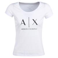 tekstylia Damskie T-shirty z krótkim rękawem Armani Exchange HELIAK Biały