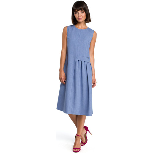 tekstylia Damskie Sukienki Be B080 Zwiewna sukienka midi bez rękawów - niebieska Niebieski
