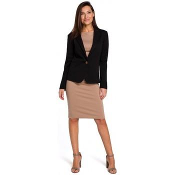 tekstylia Damskie Sukienki Be B080 Zwiewna sukienka midi bez rękawów Czarny