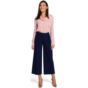 tekstylia Damskie Sukienki Moe M381 Sukienka we wzór z falbankami Pudrowy