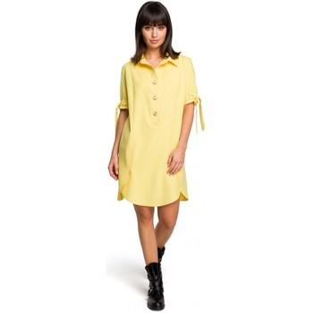 tekstylia Damskie Sukienki Moe M379 Sukienka we wzór z gładkimi wstawkami po bokach Szary