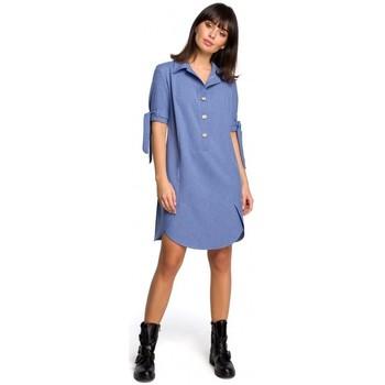 tekstylia Damskie Sukienki Be B112 Tunika z kołnierzykiem i wiązanymi rękawami - niebieska