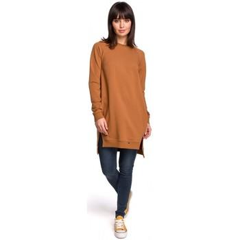 tekstylia Damskie Sukienki Style S111 Sukienka z kieszeniami i wiązaniem przy rękawach Pudrowy