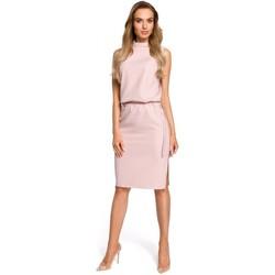 tekstylia Damskie Sukienki Moe M371 Sukienka pudełkowa z dekoltem w serek - militarno Militarno zielony