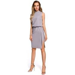 tekstylia Damskie Sukienki Moe M371 Sukienka pudełkowa z dekoltem w serek Czerwony