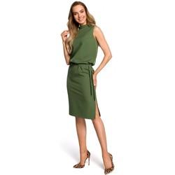 tekstylia Damskie Sukienki Moe M371 Sukienka pudełkowa z dekoltem w serek Ecru
