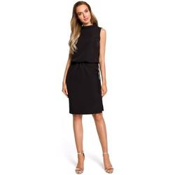 tekstylia Damskie Sukienki Moe M371 Sukienka pudełkowa z dekoltem w serek Szary