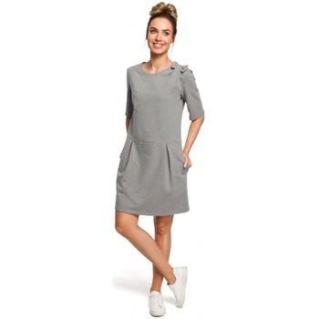 tekstylia Damskie Sukienki Moe M369 Sukienka odcinana w pasie z paskiem Ecru