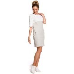 tekstylia Damskie Sukienki Moe M365 Sukienka bez rękawów z plisą po środku i z paskiem Granatowy