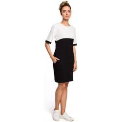 tekstylia Damskie Sukienki Moe M365 Sukienka bez rękawów z plisą po środku i z paskiem Beżowy
