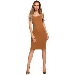 tekstylia Damskie Sukienki Be B078 Sukienka z wycięciem i wstawką z koronki Szary