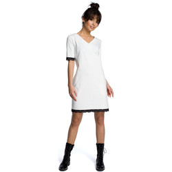 tekstylia Damskie Sukienki Be B077 Sukienka z rąbkiem z koronki Ecru