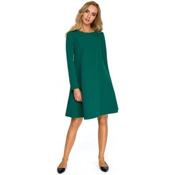 tekstylia Damskie Sukienki Be B060 Sukienka z gumą w pasie i z długimi rękawami Czerwony