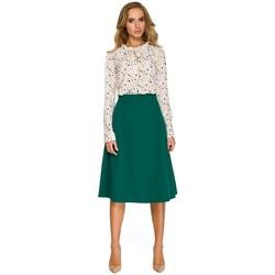 tekstylia Damskie Bluzy Be B054 Długa zasuwana bluza z kapturem Zielony