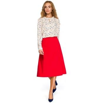 tekstylia Damskie Bluzy Be B054 Długa zasuwana bluza z kapturem Czerwony