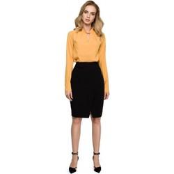 tekstylia Damskie Sukienki Moe M284 Sukienka midi z wiązaniem w pasie Czarny