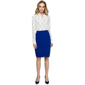 tekstylia Damskie Swetry rozpinane / Kardigany Style S127 Spódnica ołówkowa z paskiem - błękit królewski
