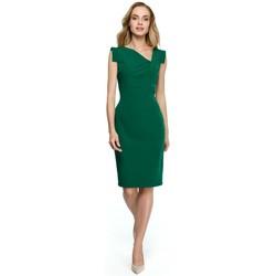 tekstylia Damskie Sukienki krótkie Style S121 Sukienka ołówkowa z asymetrycznym dekoltem - zielona