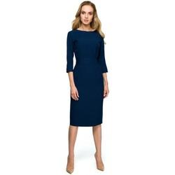 tekstylia Damskie Sukienki krótkie Style S119 Granatowa gładka sukienka zapinana na guziki