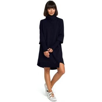 tekstylia Damskie Sukienki Be B089 Asymmetric roll neck dress - navy blue