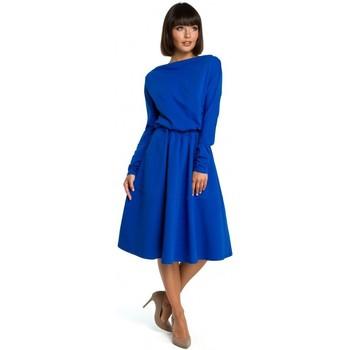 tekstylia Damskie Sukienki Moe M273 Sukienka z koronkowymi rękawami Granatowy