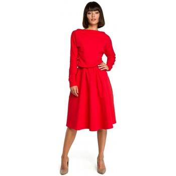 tekstylia Damskie Sukienki krótkie Be B087 Sukienka fit and flare midi - czerwona