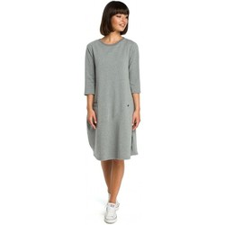 tekstylia Damskie Sukienki krótkie Be B083 Oversized dress with a front pocket - grey