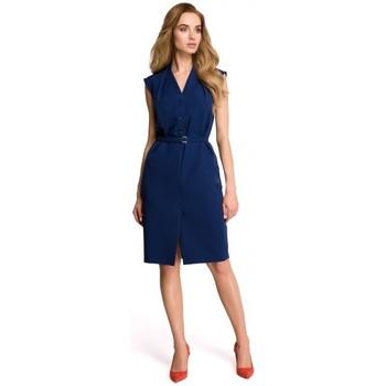 tekstylia Damskie Sukienki Style S102 Koszulowa bluzka bez rękawów - granatowa