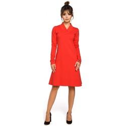 tekstylia Damskie Sukienki Moe M053 Mini sukienka – tunika z kieszenią w kształcie serca Khaki