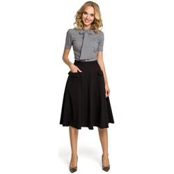 tekstylia Damskie Koszule Moe M027 Klasyczna taliowana koszula z krótkim rękawem Czarny