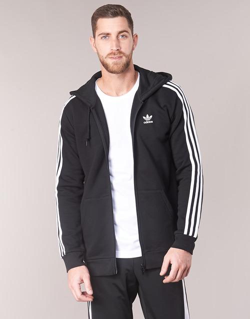 tekstylia Męskie Bluzy adidas Originals 3 STRIPES FZ Czarny