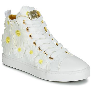 Buty Dziewczynka Trampki wysokie Geox JR CIAK GIRL Biały / Fleurs / Żółty