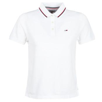 tekstylia Damskie Koszulki polo z krótkim rękawem Tommy Jeans TJW TOMMY CLASSICS POLO Biały
