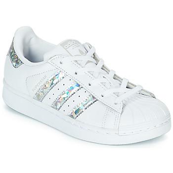 Buty Dziewczynka Trampki niskie adidas Originals SUPERSTAR C Biały / Srebrny
