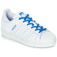 Buty Dziewczynka Trampki niskie adidas Originals SUPERSTAR J Biały / Niebieski