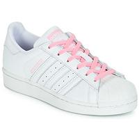 Buty Dziewczynka Trampki niskie adidas Originals SUPERSTAR J Biały / Różowy
