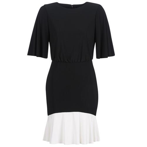 tekstylia Damskie Sukienki krótkie Lauren Ralph Lauren ELBOW SLEEVE DAY DRESS Czarny / Biały