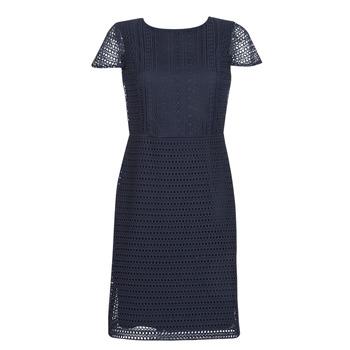 tekstylia Damskie Sukienki krótkie Lauren Ralph Lauren NAVY SHORT SLEEVE DAY DRESS Marine