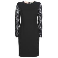 tekstylia Damskie Sukienki krótkie Lauren Ralph Lauren LACE PANEL JERSEY DRESS Czarny