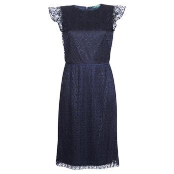 tekstylia Damskie Sukienki krótkie Lauren Ralph Lauren LACE CAP SLEEVE DRESS Marine