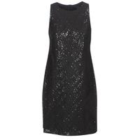 tekstylia Damskie Sukienki krótkie Lauren Ralph Lauren SEQUINED SLEEVELESS DRESS Czarny