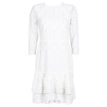 tekstylia Damskie Sukienki krótkie Lauren Ralph Lauren LONG SLEEVE-LACE DAY DRESS Biały / Czarny