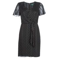 tekstylia Damskie Sukienki krótkie Lauren Ralph Lauren POLKA DOT-SHORT SLEEVE-DAY DRESS Czarny