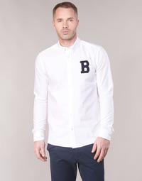 tekstylia Męskie Koszule z długim rękawem Scotch & Soda REGULAR FIT AMS BLAUW OXFORD SHIRT WITH BADGE Biały