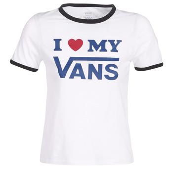 tekstylia Damskie T-shirty z krótkim rękawem Vans VANS LOVE RINGER Biały