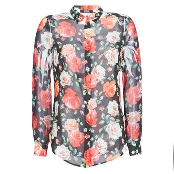 tekstylia Damskie Koszule Guess CLOUIS Czarny / Wielokolorowy