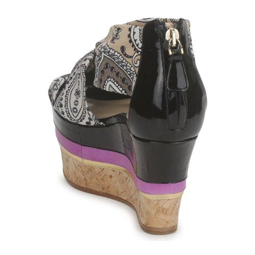 3467  Etro  sandały  damskie  szary / czarny / fioletowy