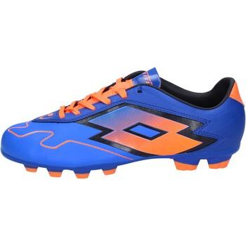 Buty Męskie Piłka nożna Lotto sneakers da calcio blu pelle arancione BT586 Blu